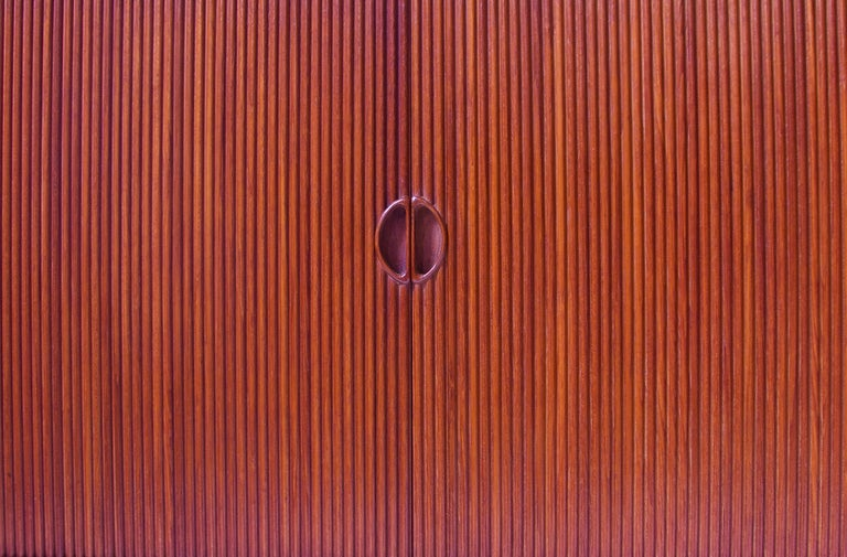 Peter Hvidt & Orla Mølgaard Nielsen Tambour Sideboard in Teak, Denmark, 1958 In Good Condition For Sale In Brooklyn, NY