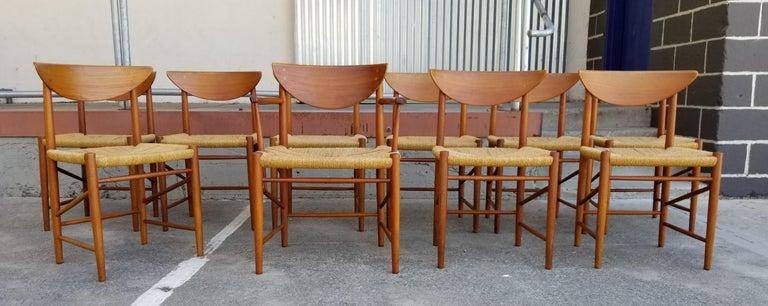 Papercord Peter Hvidt & Orla Mølgaard-Nielsen Teak Dining Chairs Set 10