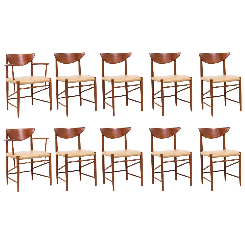 Peter Hvidt & Orla Mølgaard-Nielsen Teak & Leather Dining Chairs for Søborg Møbe