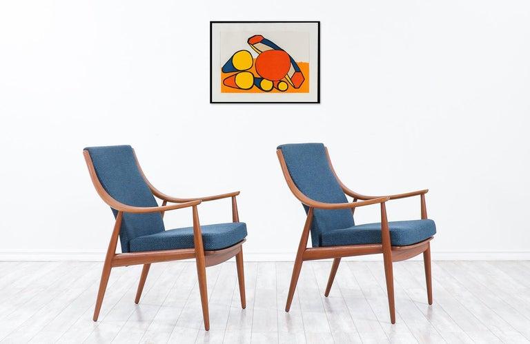 Danish Peter Hvidt & Orla Mølgaard-Nielsen Teak Lounge Chairs for France & Søn