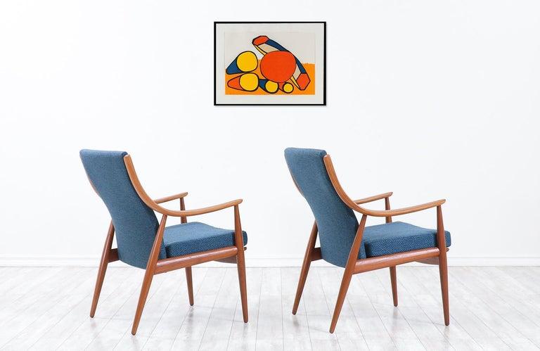 Peter Hvidt & Orla Mølgaard-Nielsen Teak Lounge Chairs for France & Søn In Excellent Condition In Los Angeles, CA
