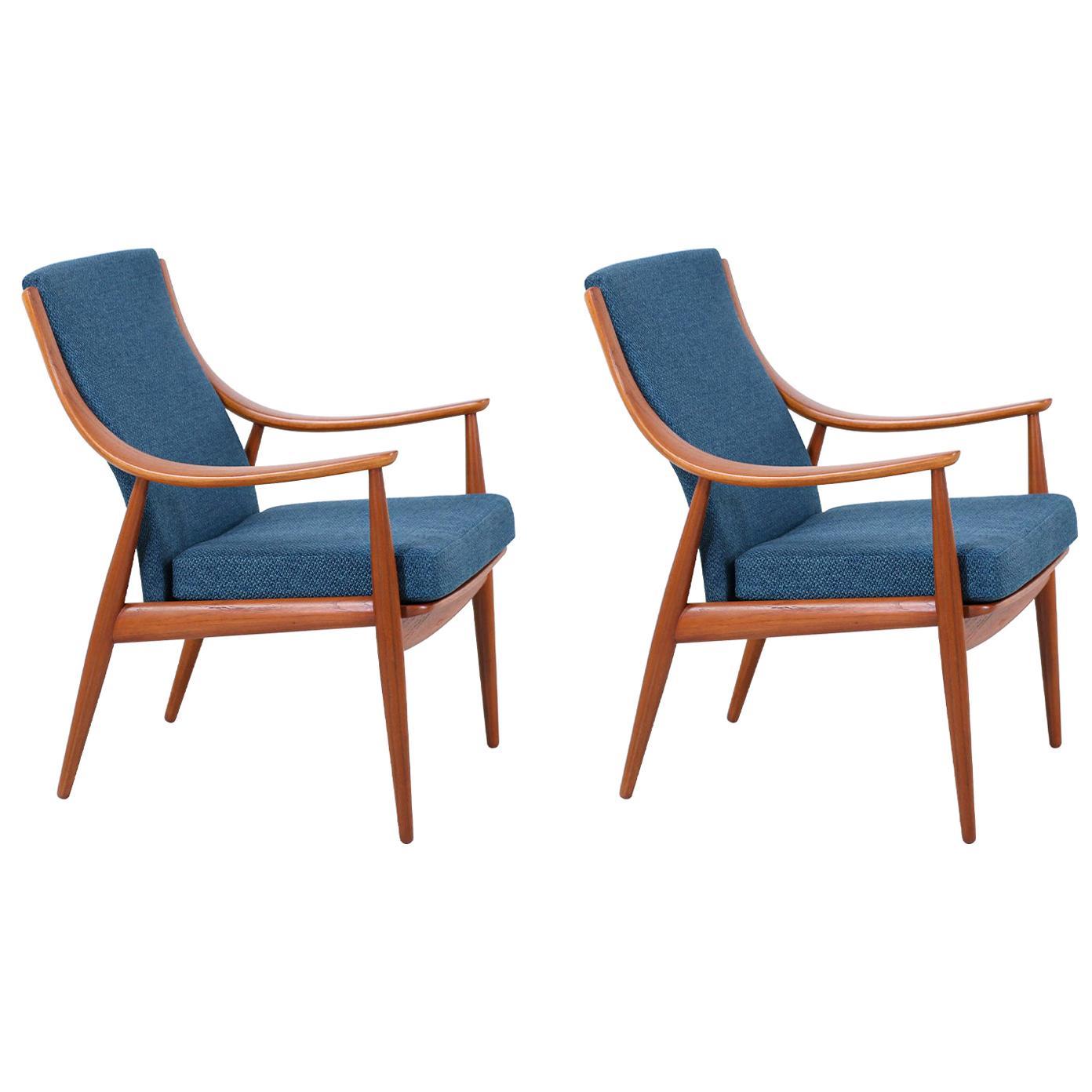 Peter Hvidt & Orla Mølgaard-Nielsen Teak Lounge Chairs for France & Søn