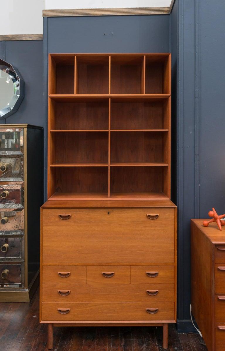 Scandinavian Modern Peter Hvidt & Orla Mølgaard Secretary Bookcase For Sale