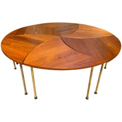 Peter Hvidt Orla Molgaard Nielsen 6 Piece Pinwheel Tail Table