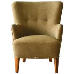 Peter Hvidt Orla Molgaard Style Classic Danish 1950s Lounge Chair
