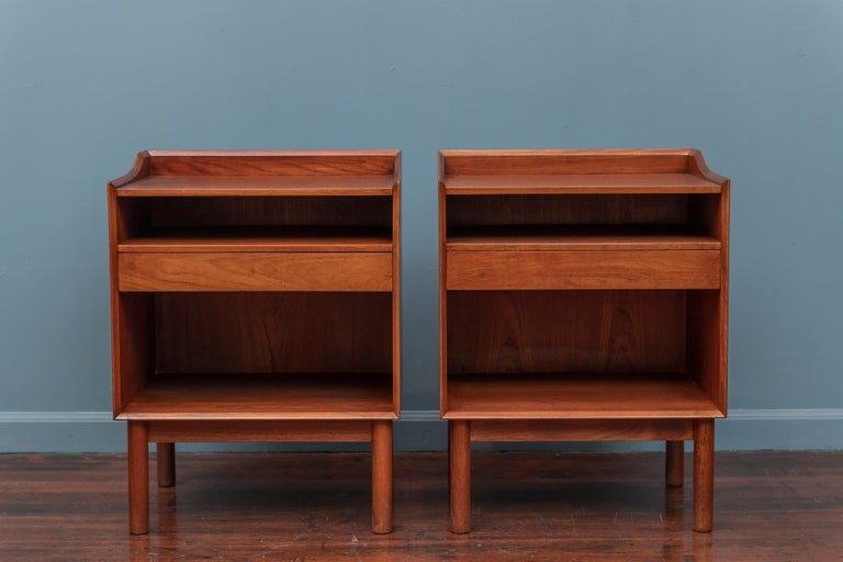 Peter Hvidt & Orla Molgaard design teak nightstands or end tables, Denmark. High quality construction and attention to detail with a single drawer, newly refinished.
