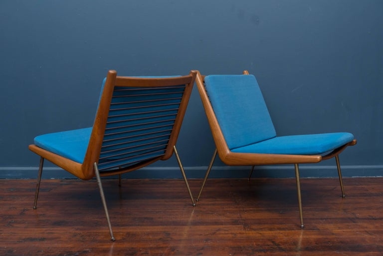 Peter Hvidt & Orla Morgaard Nielsen Bommerang Lounge Chairs In Excellent Condition For Sale In San Francisco, CA