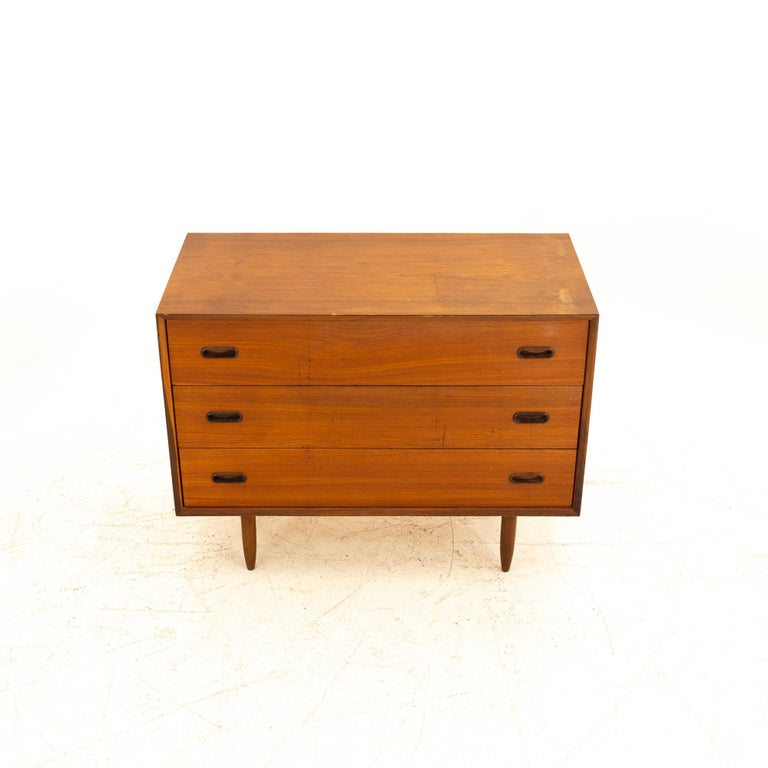 Late 20th Century Peter Hvidt Style Midcentury Teak 3-Drawer Dresser Chest of Drawers For Sale