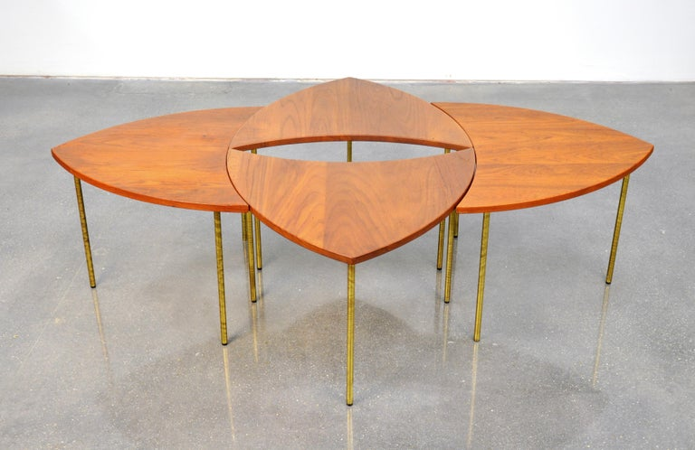 Mid-20th Century Peter Hvidt Teak and Brass Biomorphic Coffee Table For Sale