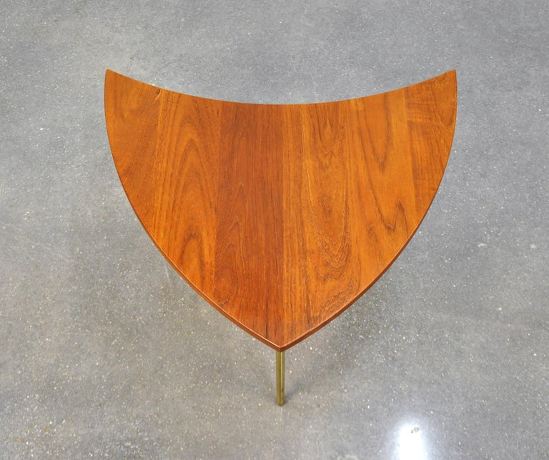 Peter Hvidt Teak and Brass Biomorphic Coffee Table For Sale 5