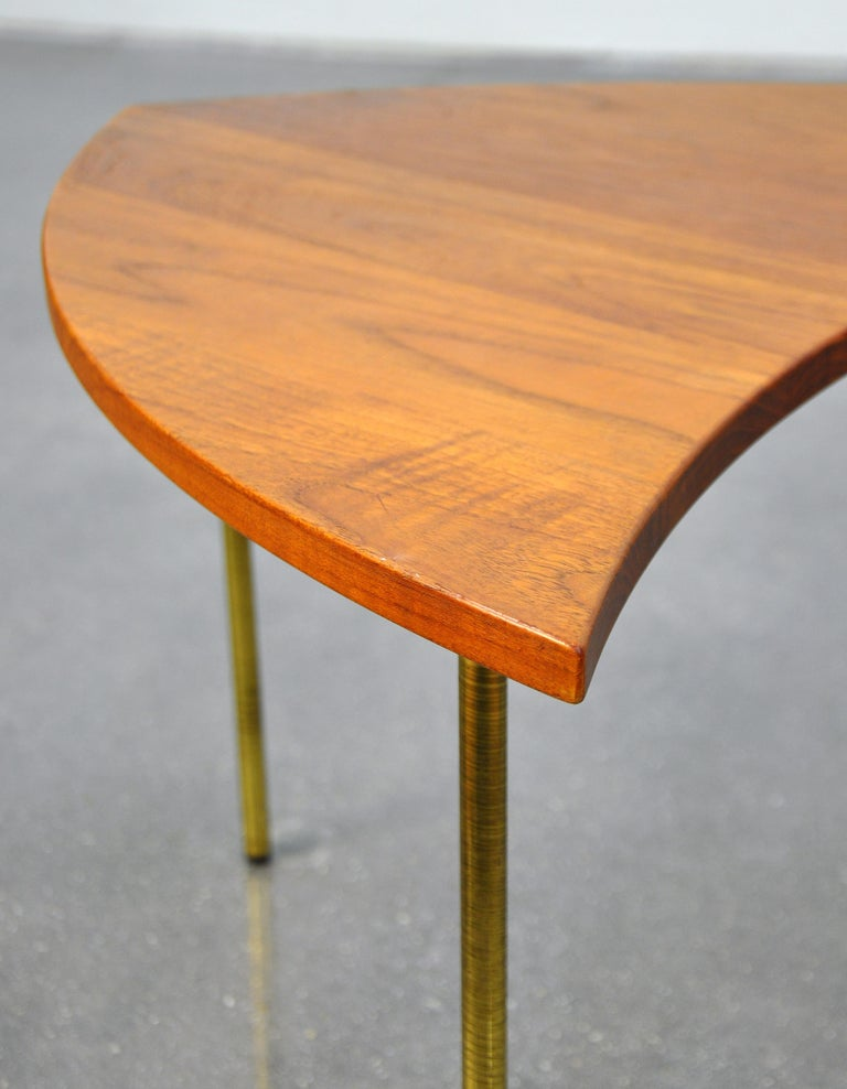 Peter Hvidt Teak and Brass Biomorphic Coffee Table For Sale 6