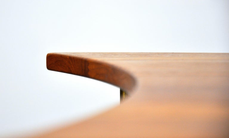Peter Hvidt Teak and Brass Biomorphic Coffee Table For Sale 7