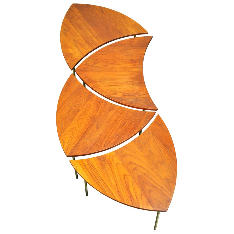 Mid-Century Modern Peter Hvidt Teak and Brass Biomorphic Coffee Table For Sale