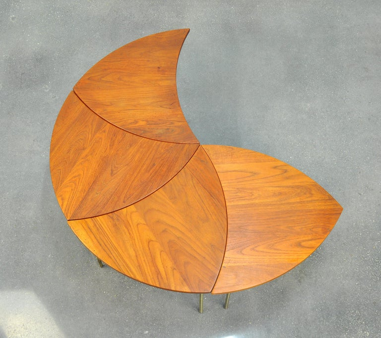 Peter Hvidt Teak and Brass Biomorphic Coffee Table In Good Condition For Sale In Miami, FL