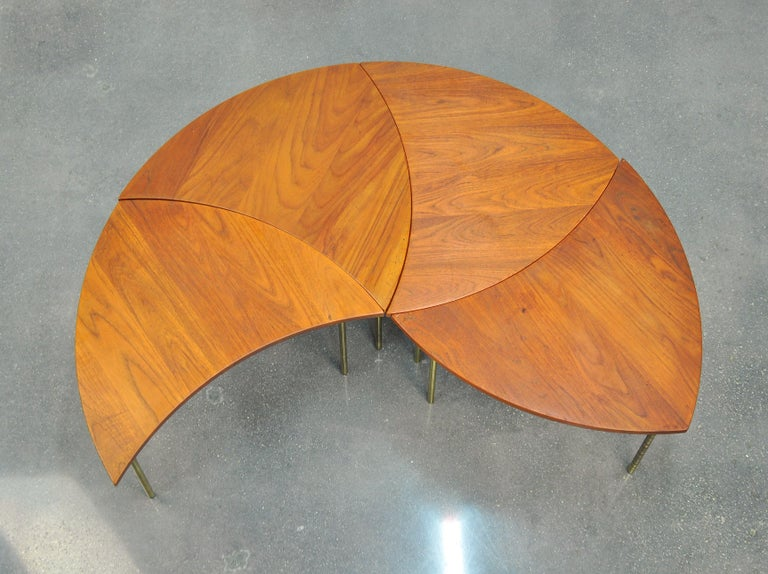 Danish Peter Hvidt Teak and Brass Biomorphic Coffee Table For Sale