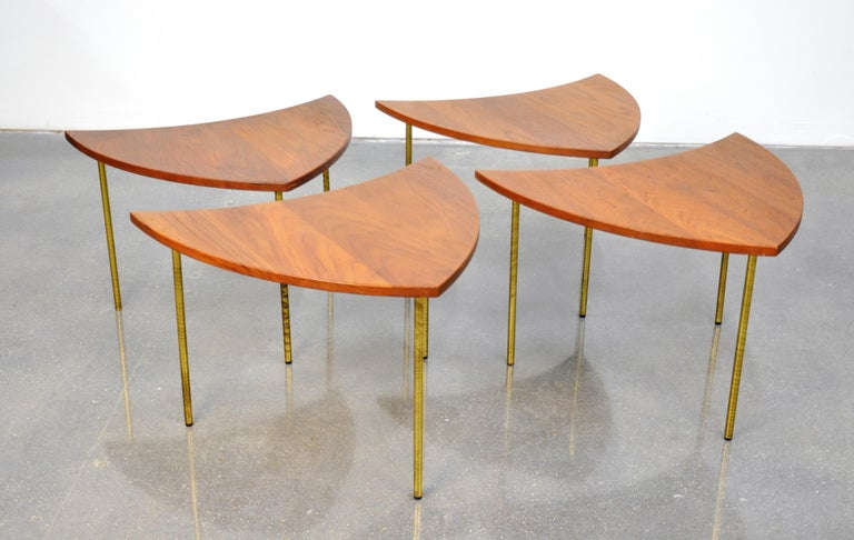 Peter Hvidt Teak and Brass Biomorphic Coffee Table For Sale 1
