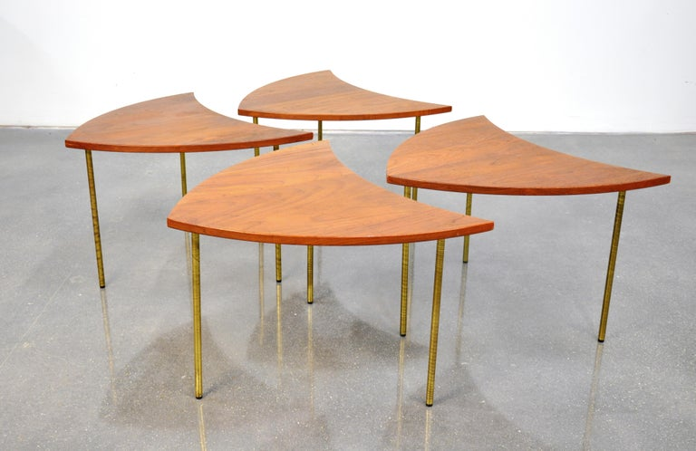 Peter Hvidt Teak and Brass Biomorphic Coffee Table For Sale 2