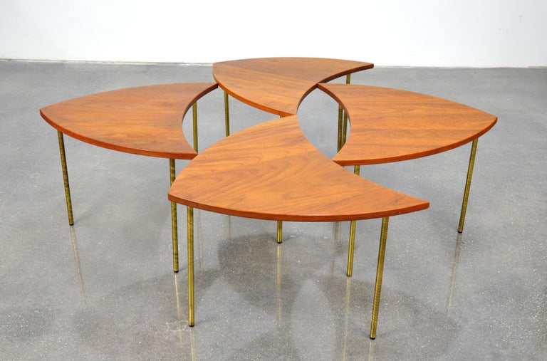 Peter Hvidt Teak and Brass Biomorphic Coffee Table For Sale 3