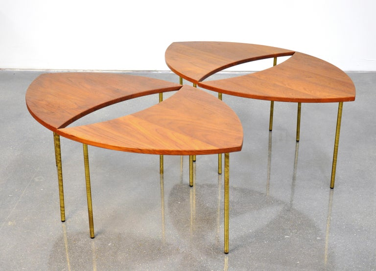 Peter Hvidt Teak and Brass Biomorphic Coffee Table For Sale 4