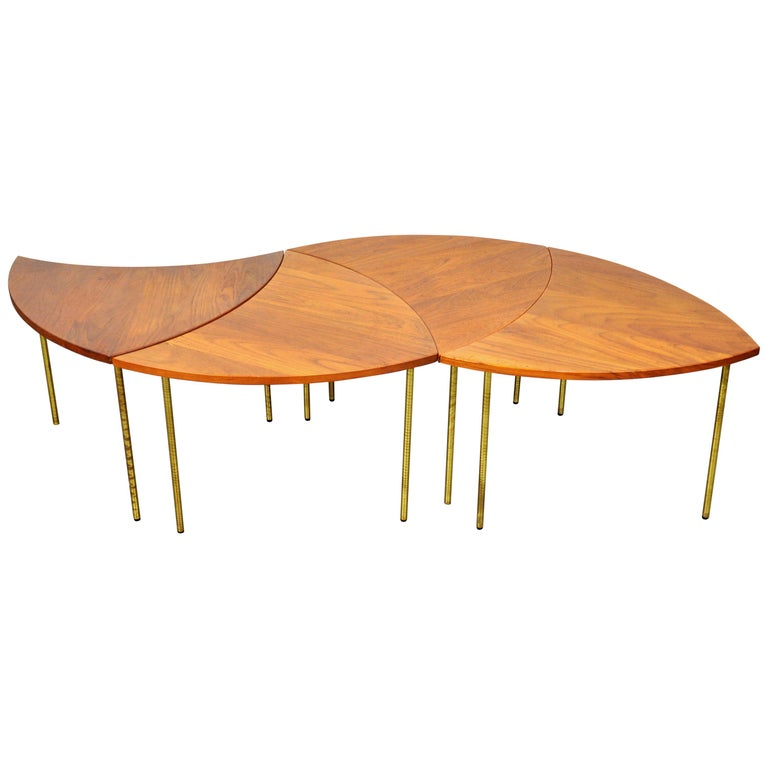 Peter Hvidt Teak and Brass Biomorphic Coffee Table For Sale