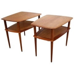 Peter Hvidt Teak End Tables, a Pair