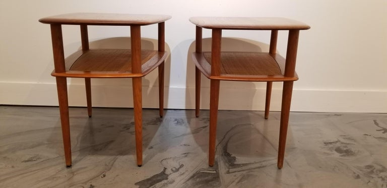 Peter Hvidt Teak Danish Modern End Tables, A Pair In Good Condition For Sale In Fulton, CA