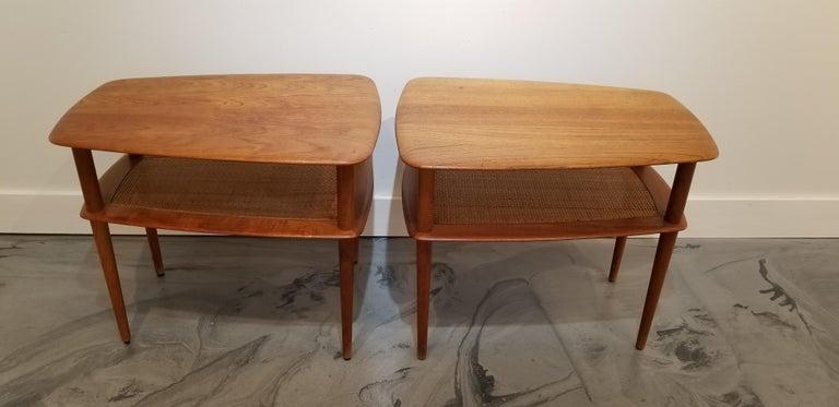 Cane Peter Hvidt Teak Danish Modern End Tables, A Pair For Sale