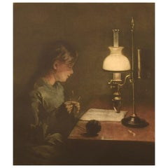 Peter Ilsted '1861-1933', Mezzotint in Colors, Interior with a Knitting Woman