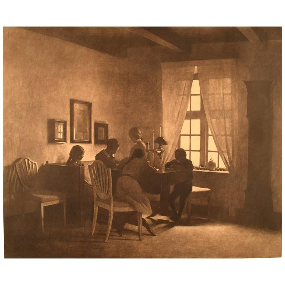 Peter Ilsted, A rainy day. Interior with the artist's family. 1931 Mezzotint.