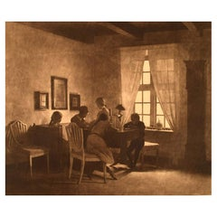 Peter Ilsted, a Rainy Day, Interior with the Artist's Family, Etching