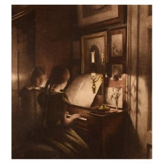Peter Ilsted, Interior with Two Girls at the Piano, Etching