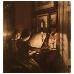 Peter Ilsted Interior with Two Girls at the Piano, Mezzotint