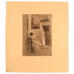 """Peter Ilsted, """"Italian Woman"""", Etching, circa 1900"""