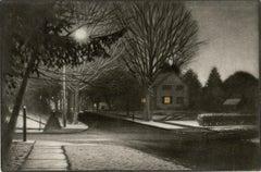 After an Evening Flurry (Light snowfall blankets a serene suburban neighborhood)