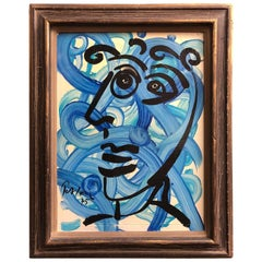 "Peter Keil Abstract Expressionist Portrait Oil Painting ""The Blue Matador"""