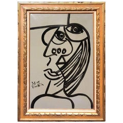 Peter Keil Cubist Expressionist Oil Painting of Jean-Michel Basquiat