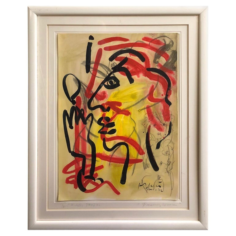"""Peter Keil """"Dreaming Woman"""" Abstract Expressionist Oil Painting For Sale"""