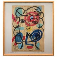 "Peter Keil ""Femme"" Acrylic Newsprint Painting"