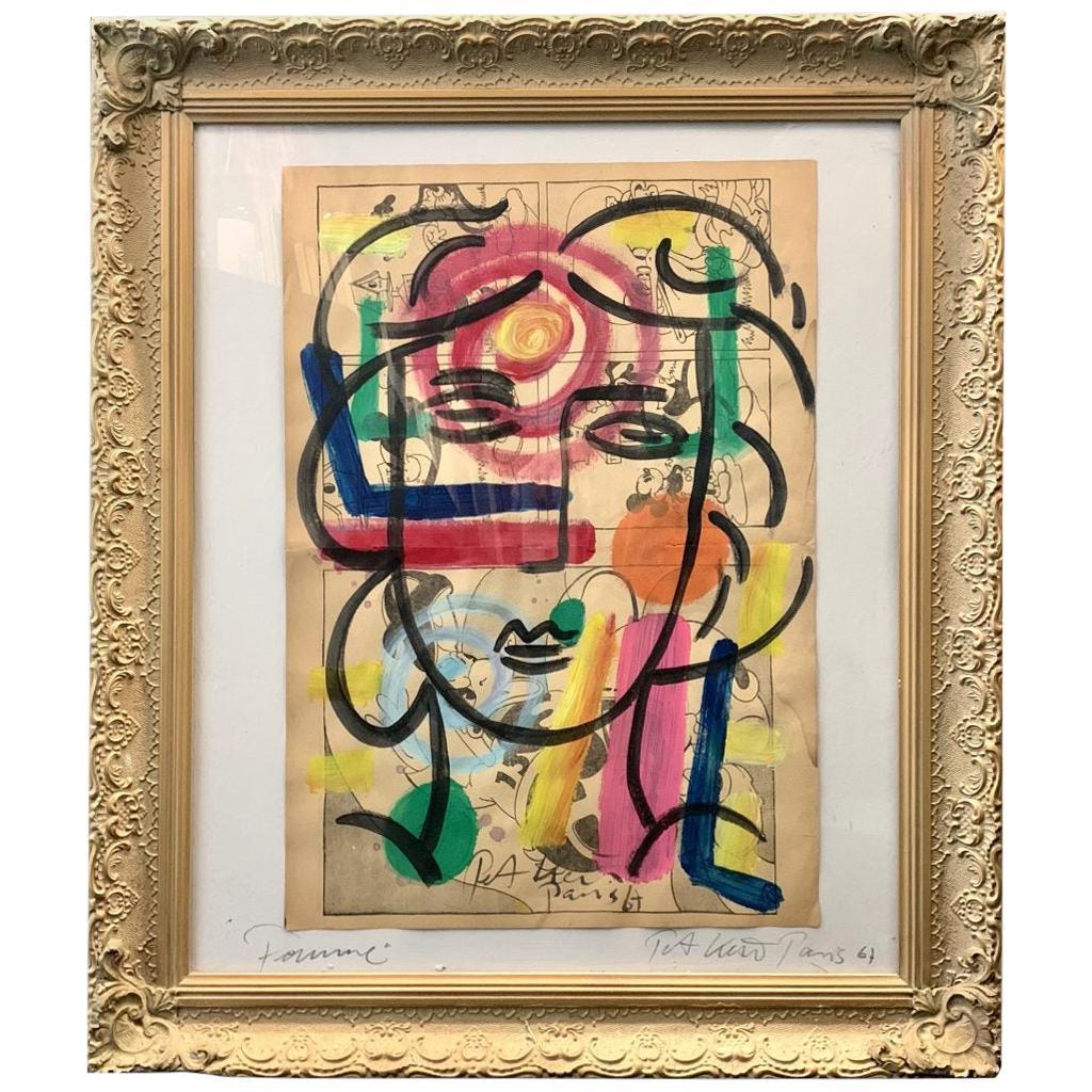 "Peter Keil ""Femme"" Acrylic Newsprint Portrait Painting"