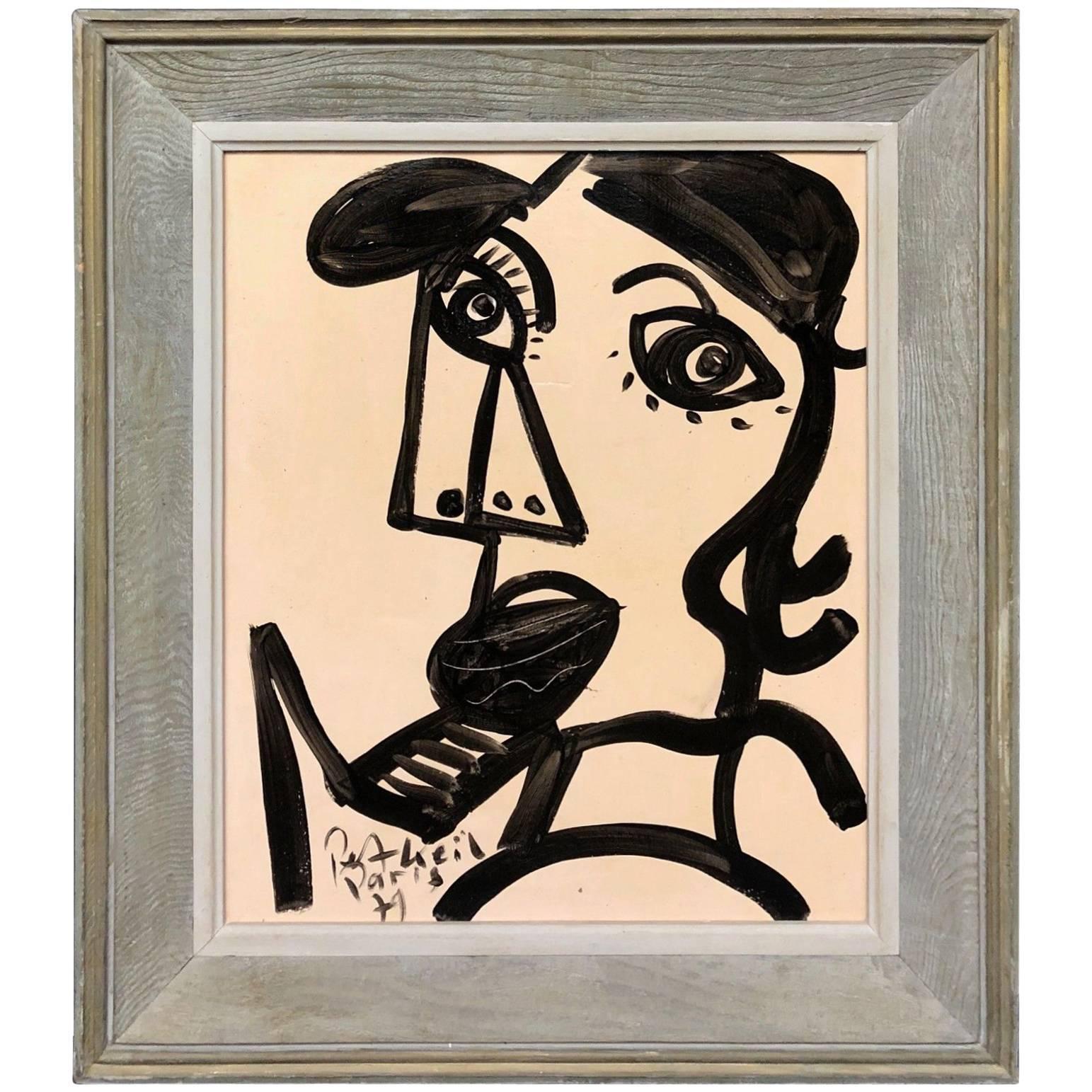 Peter Keil Framed Expressionist Oil Portrait Painting