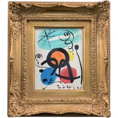 Peter Keil Joan Miro Style Modern Abstract Expressionist Oil Painting
