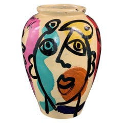 Peter Keil Modern Abstract Painted Ceramic Vase