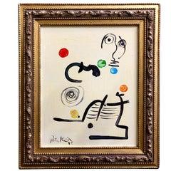 Peter Keil Modern 'Abstraite Composition' Framed Oil Painting