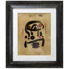 Peter Keil Oil on Board Abstract Painting Custom Framed Signed 1960s