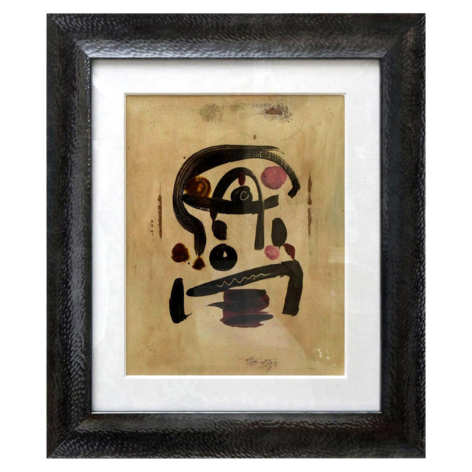 Peter Keil Oil on Board Abstract Painting Custom Framed Signed, 1960s