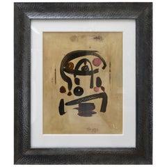 Peter Keil Oil on Board Custom Framed Painting Signed, 1960s