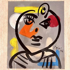 Peter Robert Keil Abstract Expressionist Portrait Painting on Board