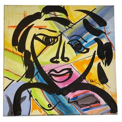 Peter Robert Keil Acrylic on Canvas Colorful Portrait
