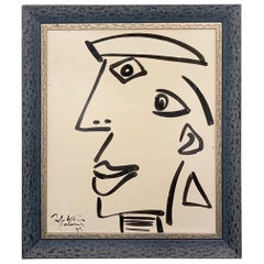 "Peter Keil ""The Young Pablo Picasso With A Hat"" Oil Portrait Painting"
