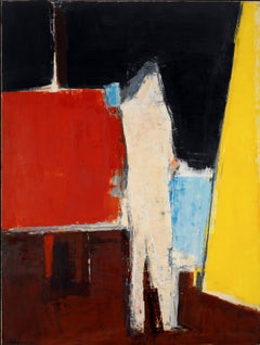 Standing Figure in Studio Interior - 20th Century, Oil on canvas by Peter Kinley